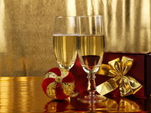 Christmas decorations and  glasses Stock Image