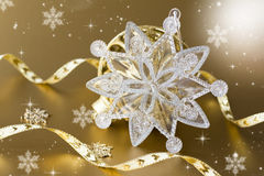 Christmas decorations on a gold background Royalty Free Stock Images
