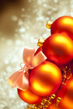 Christmas decorations on gold background Royalty Free Stock Photography