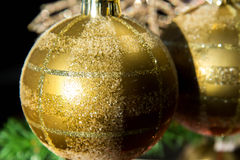 Christmas decorations, gold ornaments Stock Image