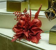 Christmas decorations at the gold shop stock photo