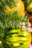 Christmas decorations, gold, silver and blue ornaments Royalty Free Stock Photography