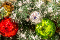 Christmas decorations, gold, silver, green, red ornaments Stock Photography