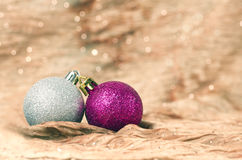 Christmas decorations with golden background Royalty Free Stock Images