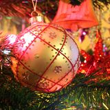 Christmas decorations - Golden ball Royalty Free Stock Images