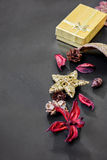 Christmas decorations with golden box Stock Photo