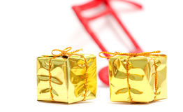 Christmas decorations. golden gift box. Picture of a Christmas decorations. golden gift box Royalty Free Stock Photo