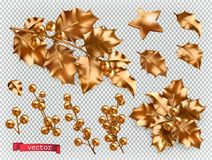 Christmas decorations. Golden holly 3d vector icon set stock illustration