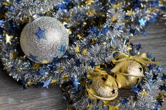 Christmas decorations Golden jingle bell Royalty Free Stock Photo