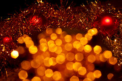 Christmas decorations 7. Golden pearls beautiful shiny in the  winter season Royalty Free Stock Images