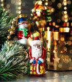 Christmas decorations with golden shiny lights Royalty Free Stock Photo