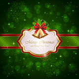 Christmas decorations on green background. Decorative card with Christmas bells, holly berries and red bow on green background, illustration Stock Images