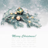 Christmas decorations in green and golden, text space Stock Photography