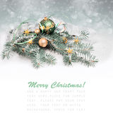 Christmas decorations in green and golden, text space Stock Images