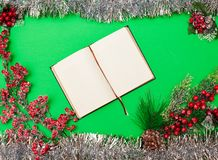 Christmas decorations on green. Open notebook and Christmas decorations on green royalty free stock images