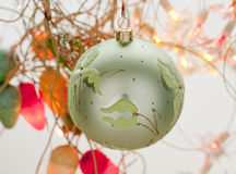 Christmas decorations. Green Christmas toy in the shape of a ball Stock Photos
