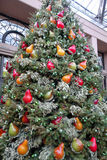 Christmas decorations in the greenhouses of Longwood Gardens. Christmas tree decorated with glass pears red, orange and yellow stock image