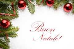 Christmas decorations with the greeting `Buon Natale` in Italian Stock Photography
