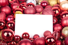 Christmas decorations and greeting card. Christmas decorations and blank greeting card Stock Photos