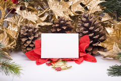 Christmas decorations and greeting card. Christmas decorations and blank greeting card Royalty Free Stock Photography