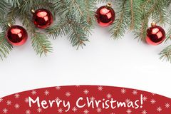 Christmas decorations with the greeting `Merry Christmas!` Royalty Free Stock Photography