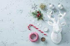 Christmas decorations on grey - winter mood board Stock Photo