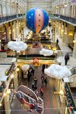 Christmas decorations in GUM - shopping mall in MOSCOW. MOSCOW, RUSSIA - November 27, 2017: Christmas decorations in GUM - shopping mall in the center of city Stock Photography