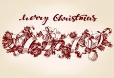 Christmas decorations hand drawn vector illustration realistic sketch. Christmas decorations hand drawn vector illustration realistic sketch Stock Photo