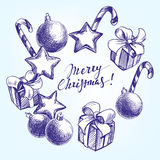 Christmas decorations hand drawn vector sketch Royalty Free Stock Images