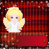 Christmas decorations on handmade knitted background.  vector illustration