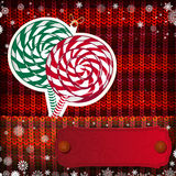 Christmas decorations on handmade knitted background Stock Photography