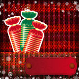 Christmas decorations on handmade knitted background Royalty Free Stock Photos