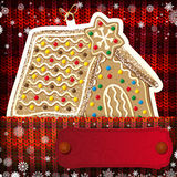Christmas decorations on handmade knitted background.  stock illustration