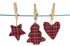 Christmas decorations hang on the clothesline Stock Photography