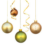 Christmas decorations hanging. Christmas decorations isolated on white Stock Image
