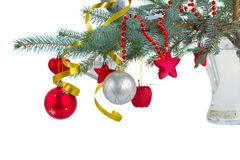 Christmas decorations  hanging on fir blue  tree Royalty Free Stock Image