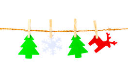 Christmas decorations hanging Royalty Free Stock Photos