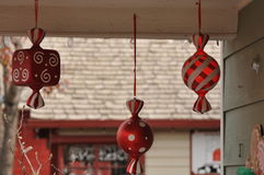 Christmas decorations hanging from rafters. Stock Image