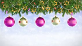 Christmas Decorations Hanging and Rotating From Twigs- 3D render. Seamless loop stock footage
