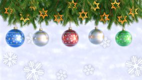 Christmas Decorations Hanging and Rotating From Twigs- 3D render. Seamless loop stock video