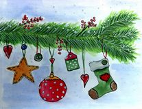 Christmas decorations hanging on a spruce branch. Drawing in watercolor, blue background Royalty Free Stock Photo