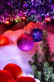 Christmas decorations and happy new year holiday card Royalty Free Stock Photography