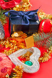 Christmas decorations heart and fancy box Royalty Free Stock Image
