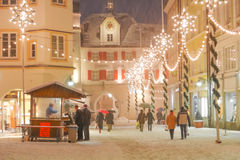 Christmas Decorations in the historic town of Rosenheim, Germany. Royalty Free Stock Images