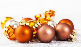 Closeup on golden Chrismas decorations Royalty Free Stock Images
