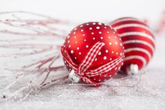 Closeup on red Chrismas decorations Stock Photography