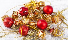 Closeup on red Chrismas decorations Royalty Free Stock Photos