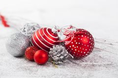 Closeup on red Chrismas decorations Stock Images