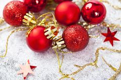 Closeup on red Chrismas decorations Royalty Free Stock Photography