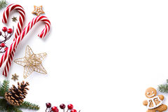 Christmas decorations and holidays sweet on white background Stock Photos